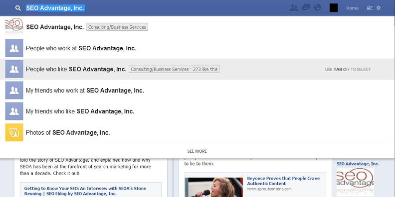 Facebook graph search drop-down from a business page
