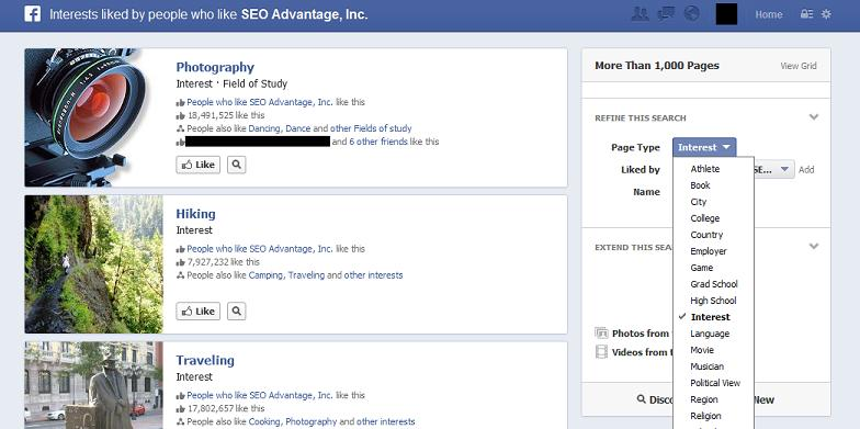 Facebook graph search follower interests