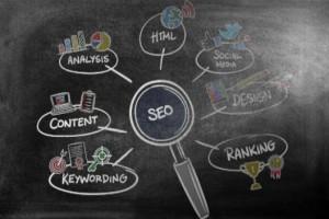 SEO concepts drawn on blackboard: SEO-e Copywriting/SEO Content Development Blog