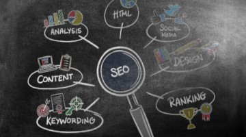 SEO concepts drawn on blackboard: SEO-e Copywriting/SEO Content Development Blog