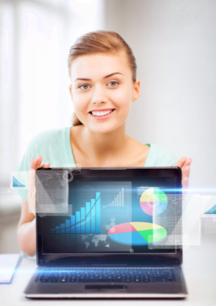 Woman showing infographic on laptop: SEO-e Copywriting/SEO Content Development Blog