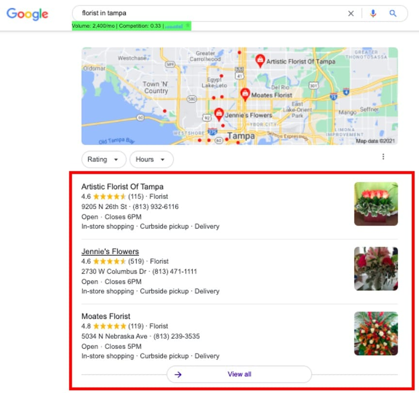 Local SEO - florists in Tampa