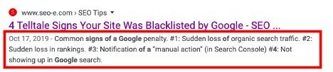 meta description tags for google search results